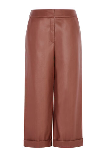 Karen Millen, FAUX LEATHER CULOTTE Tan 0