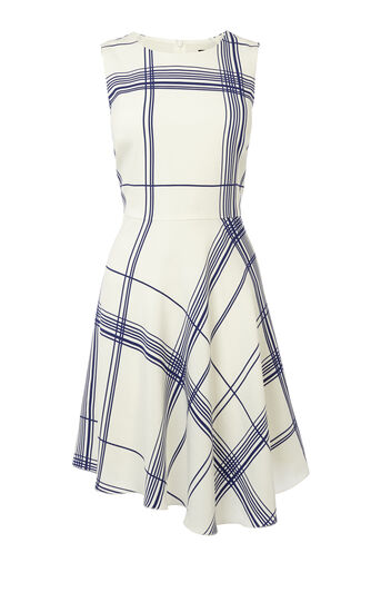 Karen Millen, FLUID CHECK PRINT DRESS White/Mult 0