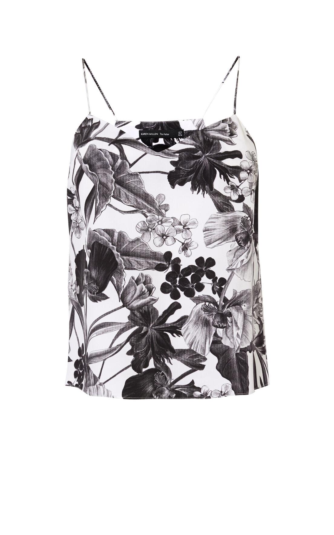Karen Millen, FLORAL-PRINT SILK CAMISOLE Black & White 0
