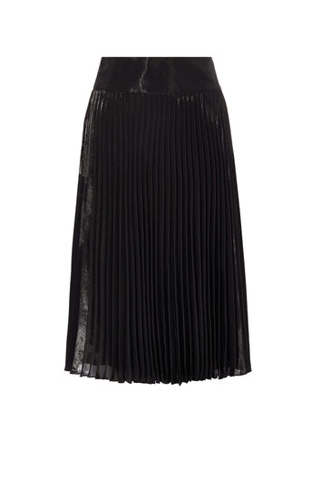 Karen Millen, METALLIC PLEATED MIDI SKIRT Black 0