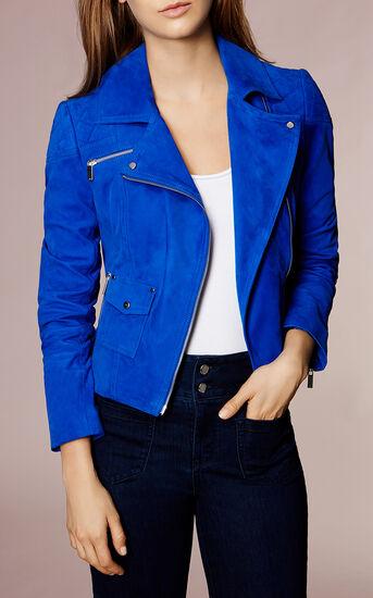 Karen Millen, COBALT-BLUE SUEDE BIKER JACKET Blue 2