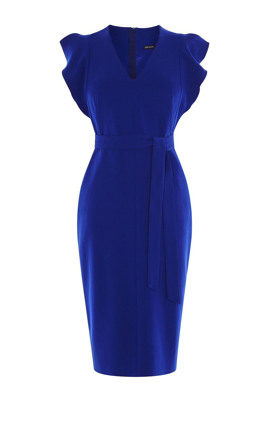 Karen Millen, FRILL WING DRESS Blue 0