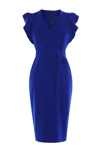 Karen Millen, FRILL WING DRESS Blue 0