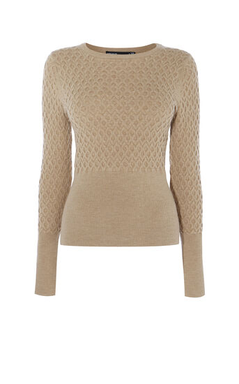 Karen Millen, CABLE-KNIT JUMPER Camel 0