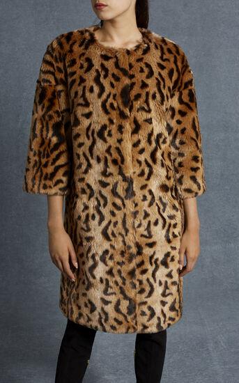 Karen Millen, LEOPARD PRINT FAUX FUR COAT Leopard Print 2