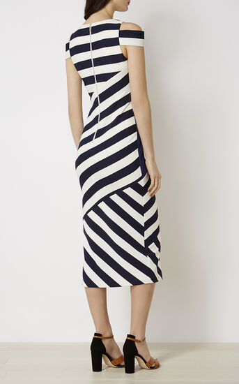 Karen Millen, STRIPED MIDI DRESS Blue/Multi 3