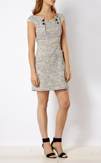 Karen Millen, BOUCLÉ TWEED SHIFT DRESS Blk&Wht 1