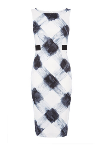 Karen Millen, Art print stretch dress Blk&Wht 0