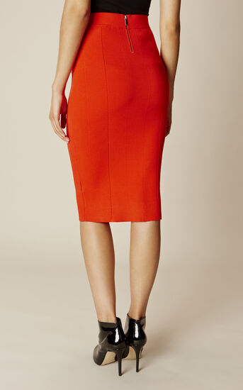 Karen Millen, RIBBED KNIT SKIRT Orange 3