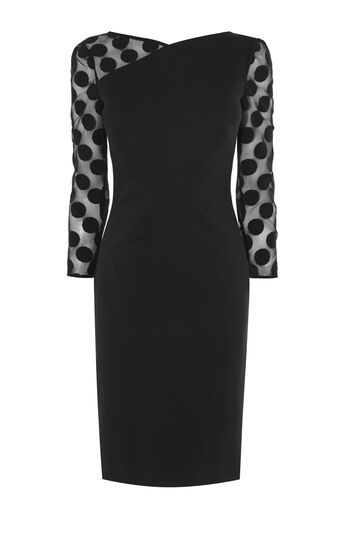 Karen Millen, SPOT SLEEVE MINI DRESS Black 0