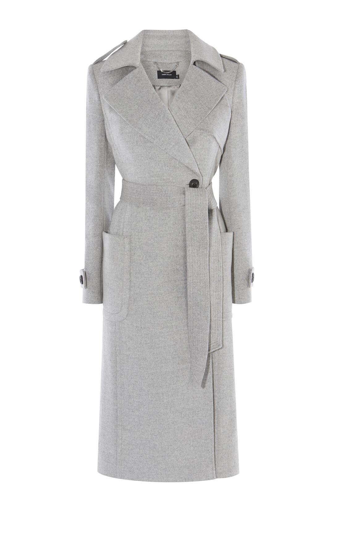 Karen Millen, LONG-LINE COAT Grey 0