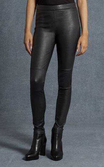 Karen Millen, BLACK LEATHER LEGGINGS Black 2