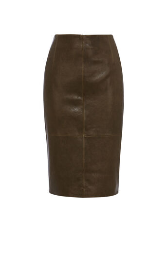 Karen Millen, LEATHER PENCIL SKIRT Khaki 0