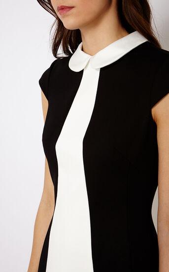 Karen Millen, SCALLOPED MINI DRESS Blk & Ivry 4