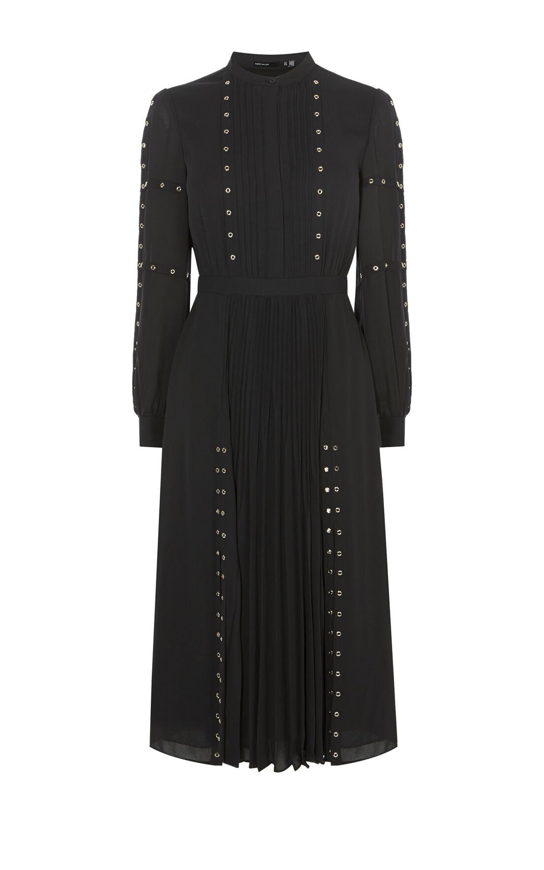 Karen Millen, STUDDED SHIRT DRESS Black 0