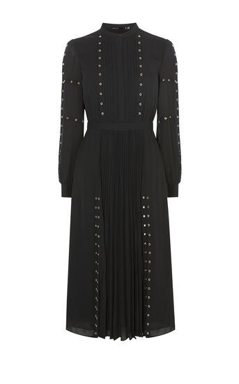 Karen Millen, DSTUDDED SHIRT DRESS Black 0