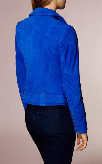 Karen Millen, COBALT-BLUE SUEDE BIKER JACKET Blue 3