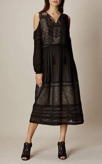 Karen Millen, BLACK MESH COLD-SHOULDER DRESS Black 1