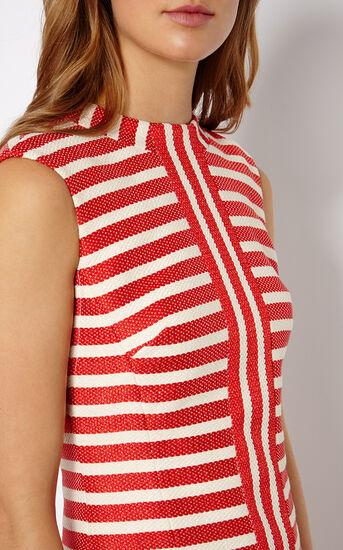 Karen Millen, STRIPED TWEED SHIFT DRESS Red/Multi 4