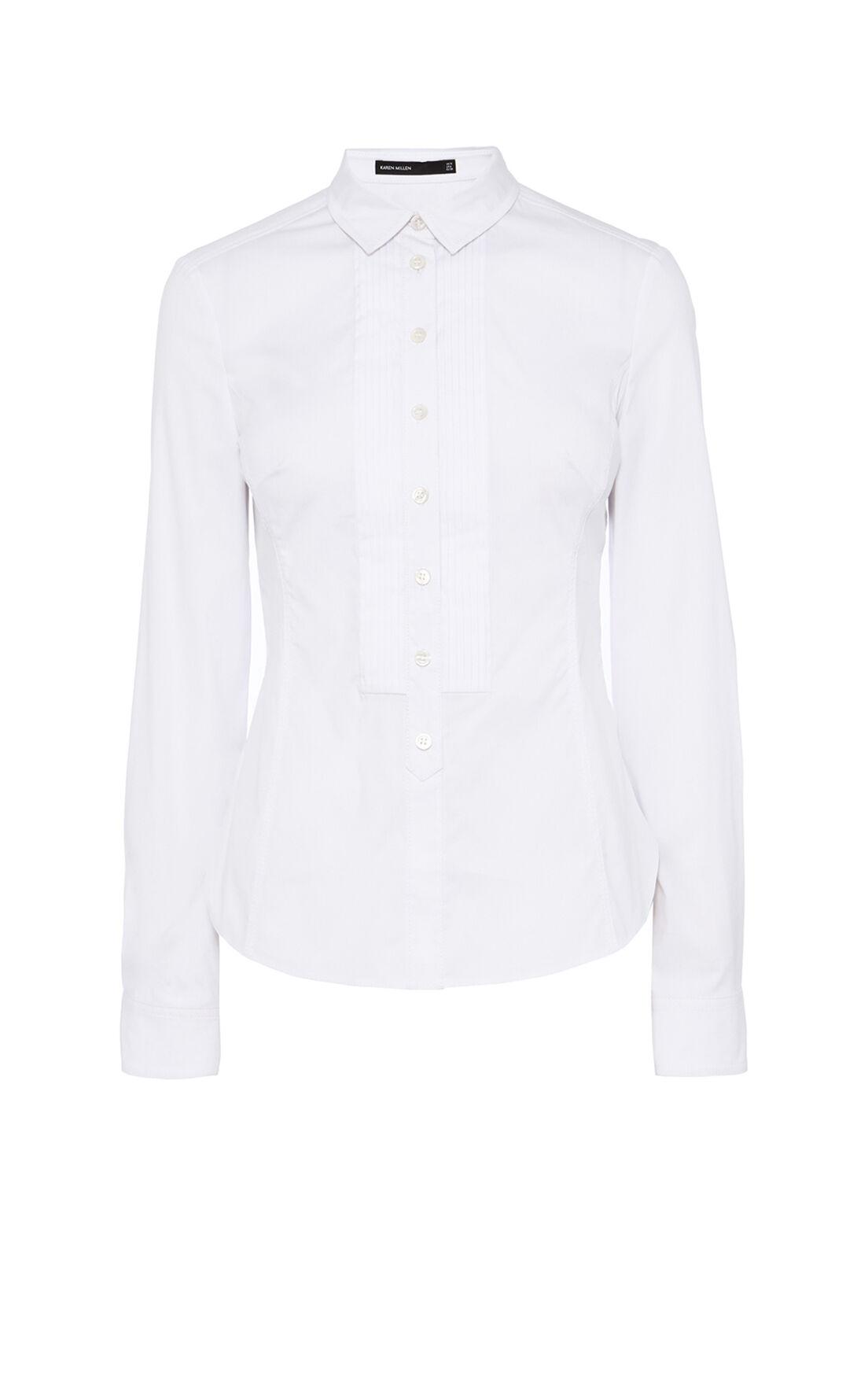 Karen Millen, PLEAT FRONT SHIRT White 0