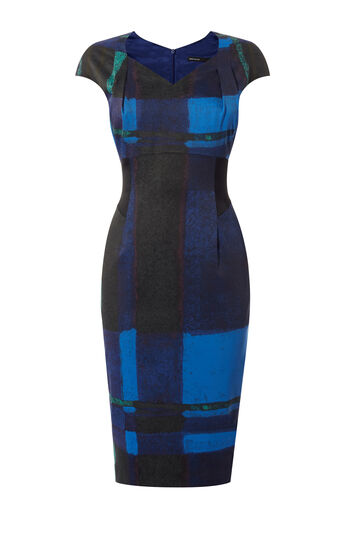 Karen Millen, WATERCOLOUR CHECK DRESS Blue/Multi 0