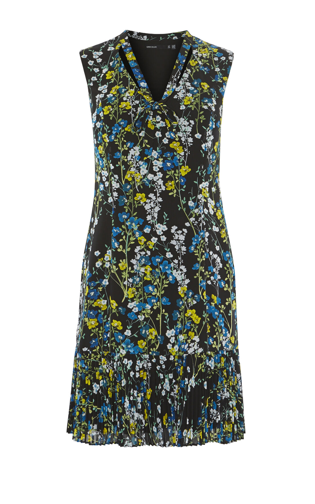 Karen Millen, TIE-NECK FLORAL DRESS Black/Multi 0