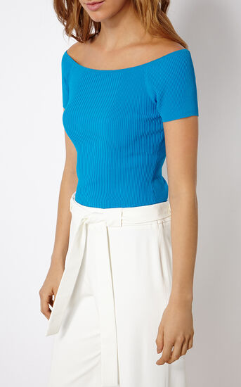 Karen Millen, OFF-THE-SHOULDER RIBBED TOP Turquoise 2