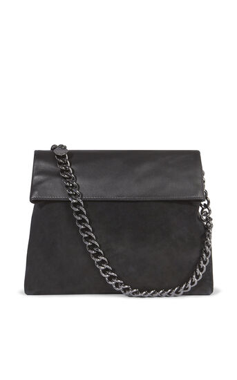 Karen Millen, REGENT SUEDE AND LEATHER BAG Black 0