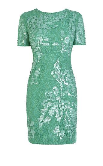 Karen Millen, Lace dress with fringe effect Aqua 0