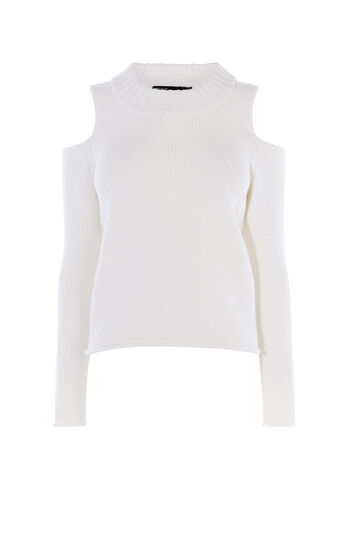 Karen Millen, CHUNKY COLD-SHOULDER JUMPER Ivory 0