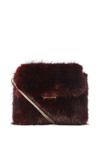 Karen Millen, FAUX FUR CHAIN BAG Red 0