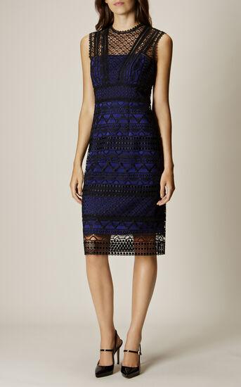 Karen Millen, GRAPHIC LACE PENCIL DRESS Black/Multi 1