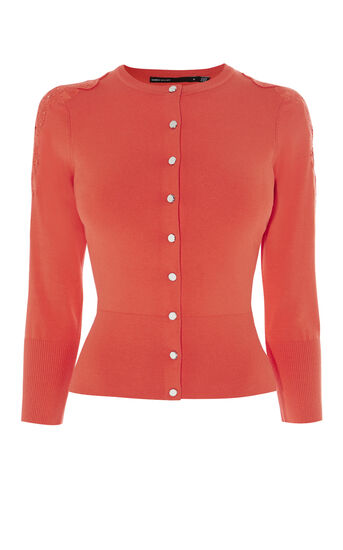 Karen Millen, LACE SHOULDER CARDIGAN Red 0