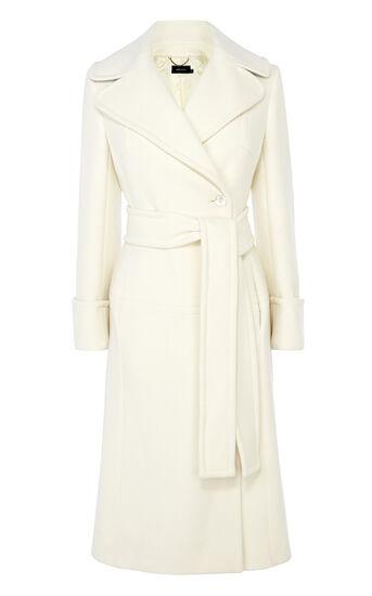Karen Millen, WINTER WHITE LONG LINE BELTED Ivory 0
