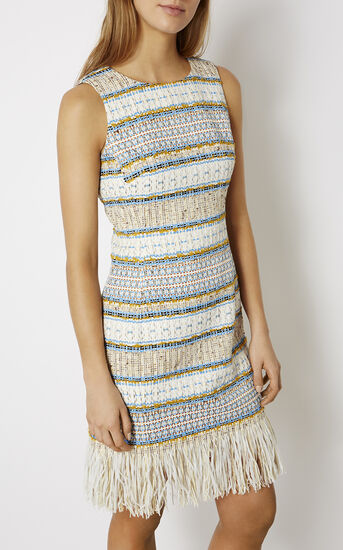 Karen Millen, FRINGED TWEED DRESS Multicolour 2