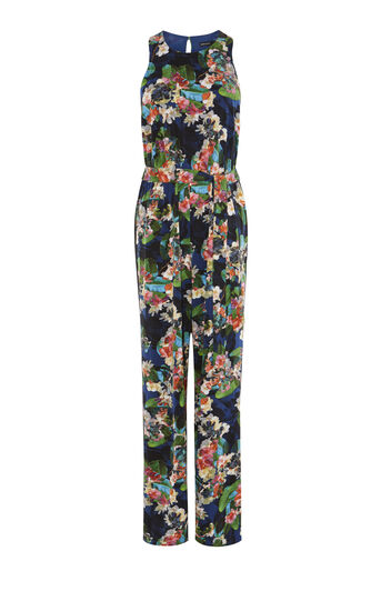 Karen Millen, TROPICAL FLORAL-PRINT JUMPSUIT Multicolour 0