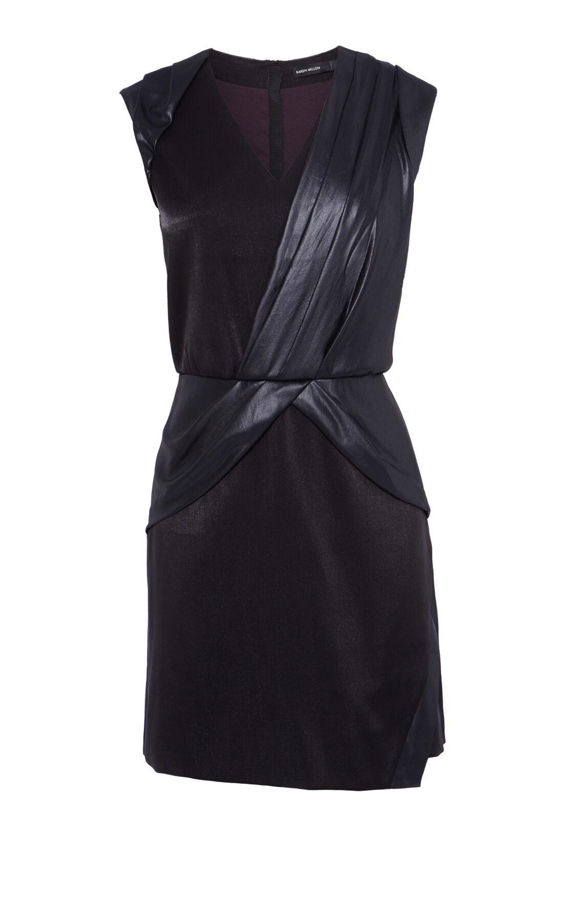 Karen Millen, COATED DRAPED DRESS Black 0