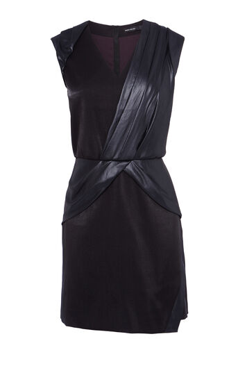 Karen Millen, COATED DRAPED DRESS Black 0