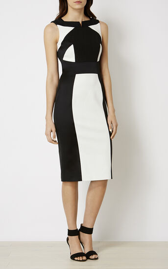 Karen Millen, MONOCHROME PENCIL DRESS Black & White 2