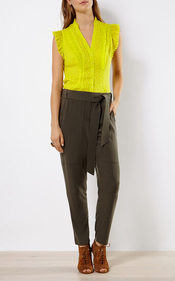 Karen Millen, PLEATED RUFFLE BLOUSE Lime 1
