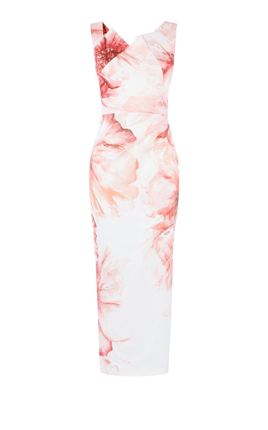 Karen Millen, WATERCOLOUR-FLORAL MAXI PENCIL Pink 0