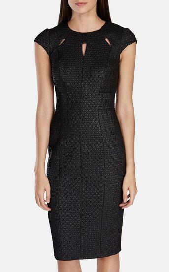 Karen Millen, CUTOUT TEXTURED DRESS Black 2