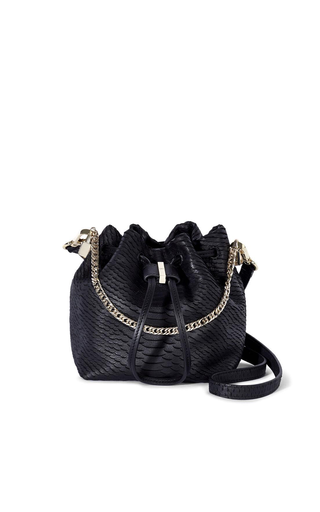 Karen Millen, SNAKE MINI BUCKET BAG Black 0