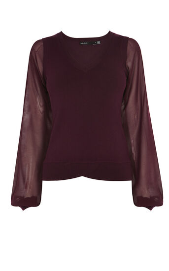Karen Millen, SCALLOP-HEM JUMPER Dark Red 0