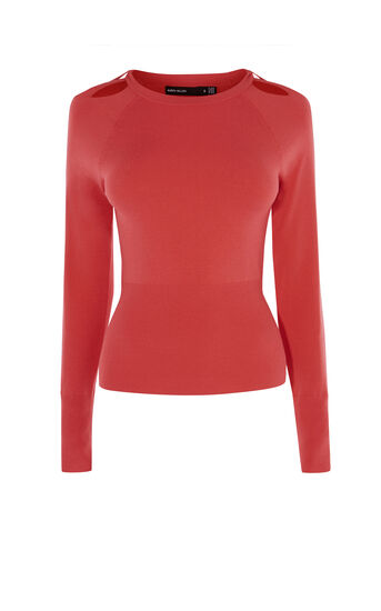 Karen Millen, CUT-OUT NECK TOP Pink 0