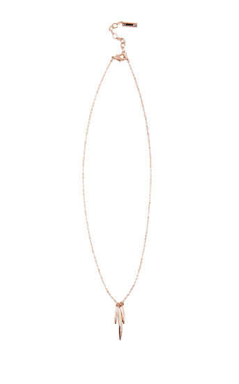 Karen Millen, NECKLACE WITH 3 CRYSTAL DROP P Rose Gold Colour 0