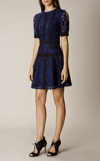 Karen Millen, LACE PANEL DRESS Blue/Multi 1