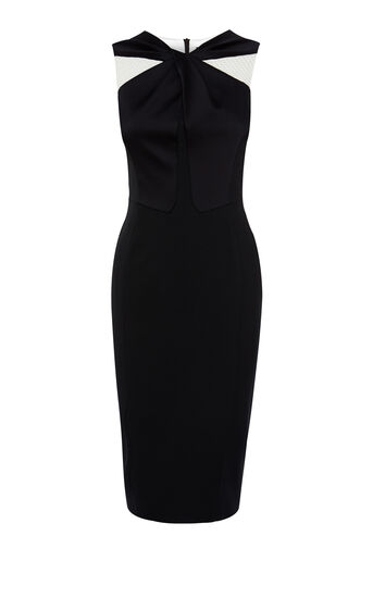 Karen Millen, KNOT-FRONT DRESS Blk/Multi 0