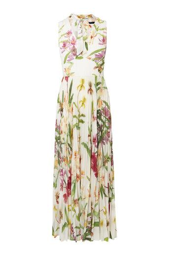 Karen Millen, ORCHID PLEATED MAXI DRESS Multicolour 0