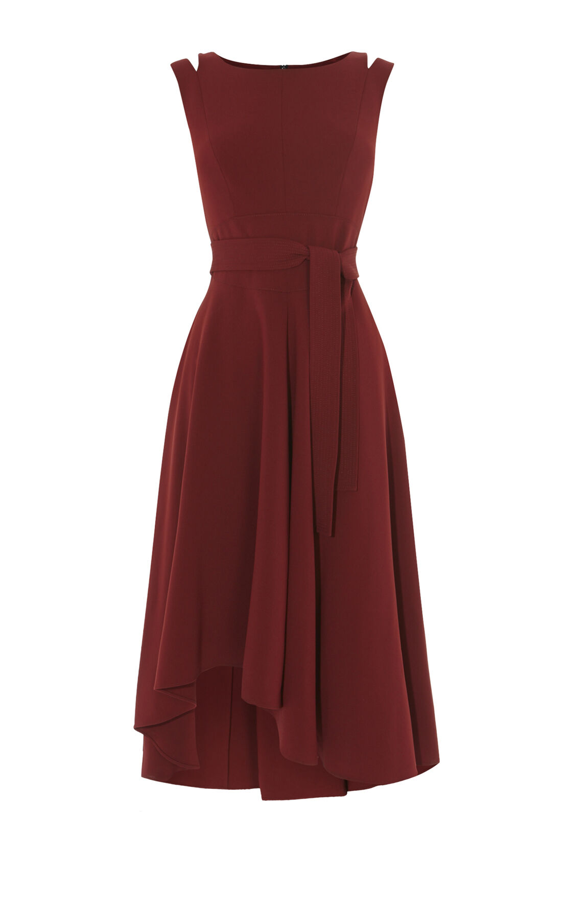 Karen Millen, CREPE MIDI DRESS Burgundy 0